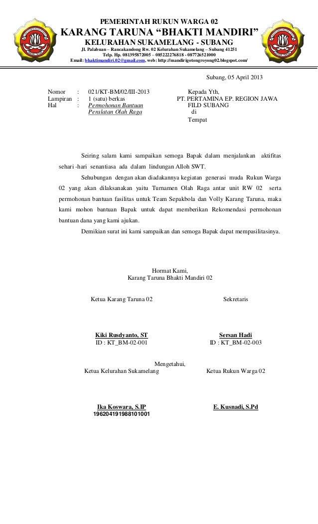 Proposal permohonan perlengkapan olahraga karang taruna bhakti mandiri