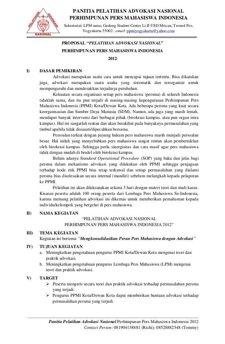PANITIA PELATIHAN ADVOKASI NASIONAL                       PERHIMPUNAN PERS MAHASISWA INDONESIA                    Sekretar...