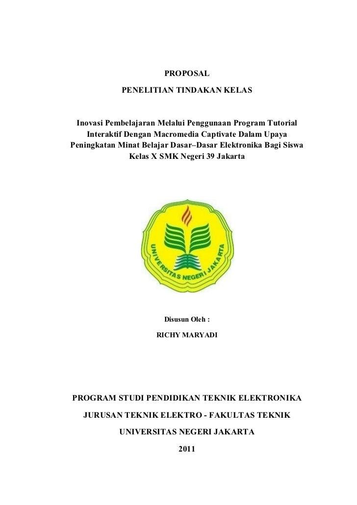 PROPOSAL             PENELITIAN TINDAKAN KELAS Inovasi Pembelajaran Melalui Penggunaan Program Tutorial    Interaktif Deng...