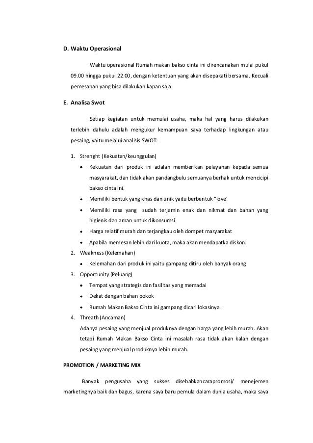 Proposal Usaha Rumah Makan Lesehan