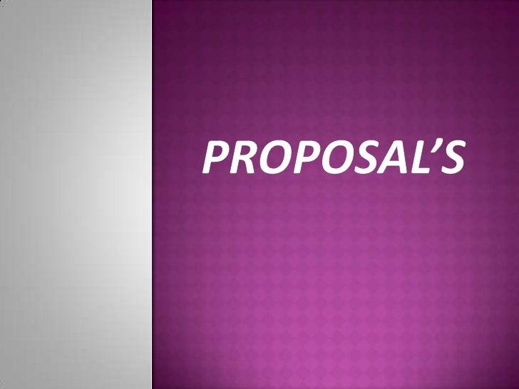 Proposal's