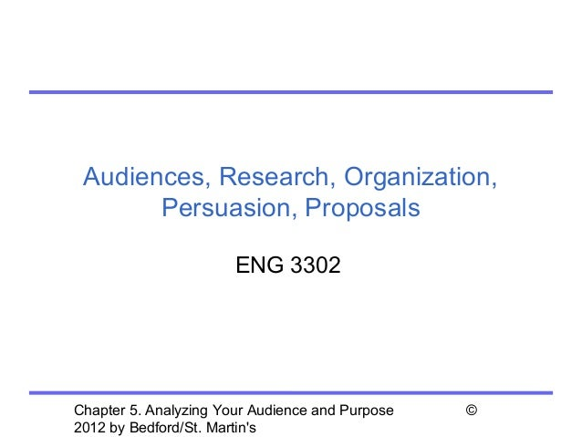 Audiences, Research, Organization,       Persuasion, Proposals                       ENG 3302Chapter 5. Analyzing Your Aud...