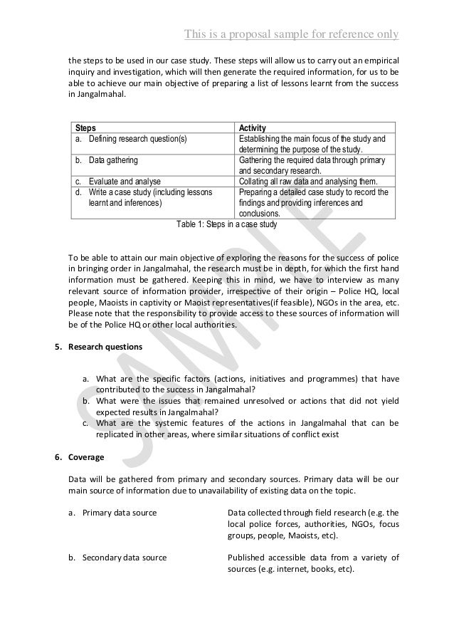 Case study research proposal examples