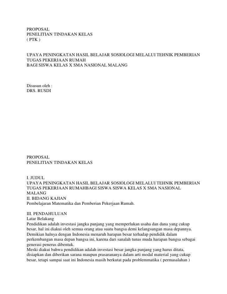 PROPOSALPENELITIAN TINDAKAN KELAS( PTK )UPAYA PENINGKATAN HASIL BELAJAR SOSIOLOGI MELALUI TEHNIK PEMBERIAN TUGAS PEKERJAAN...
