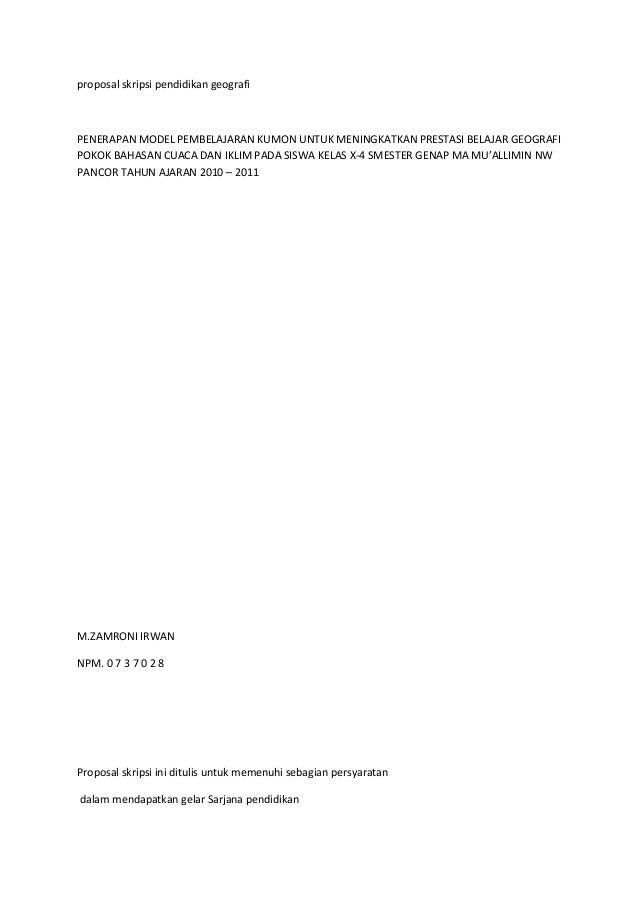Proposal skripsi pendidikan geografi