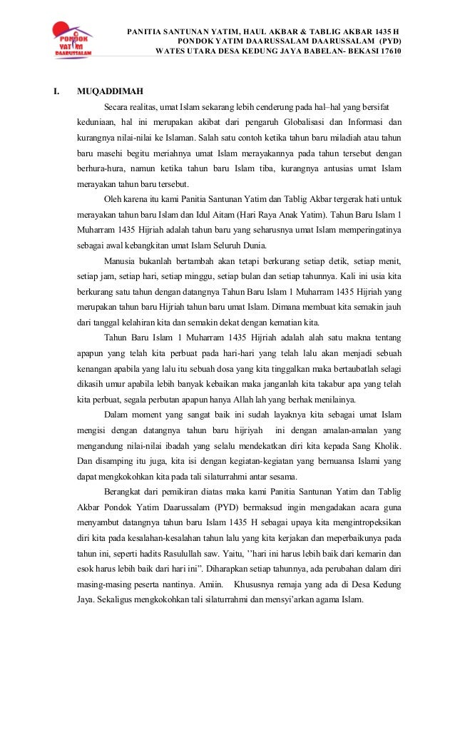 PANITIA SANTUNAN YATIM, HAUL AKBAR & TABLIG AKBAR 1435 H PONDOK YATIM DAARUSSALAM DAARUSSALAM (PYD) WATES UTARA DESA KEDUN...