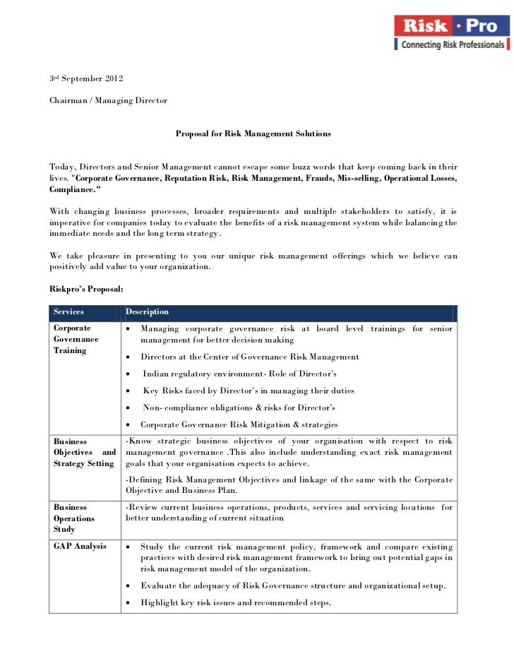 3rd September 2012Chairman / Managing Director                                    Proposal for Risk Management SolutionsTo...