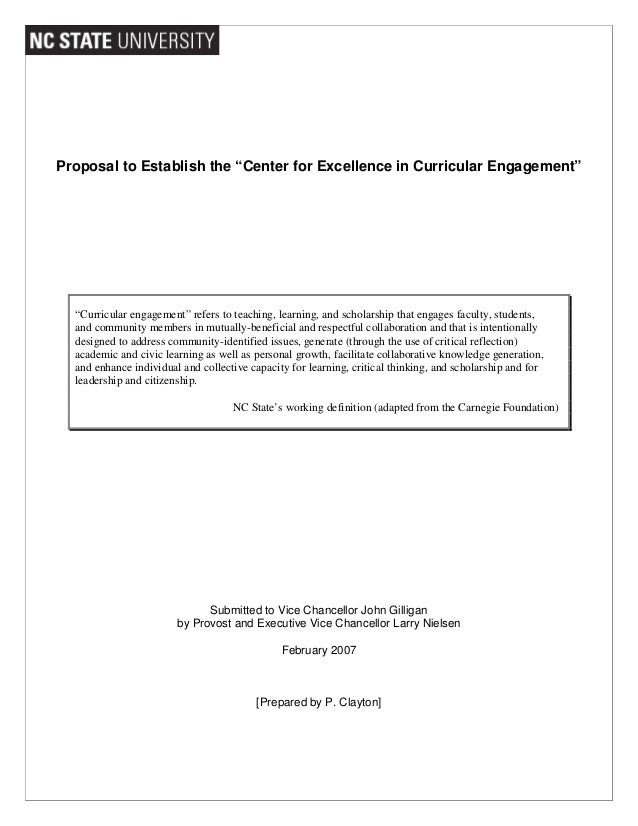 """Proposal to Establish the """"Center for Excellence in Curricular Engagement"""" """"Curricular engagement"""" refers to teaching, lea..."""