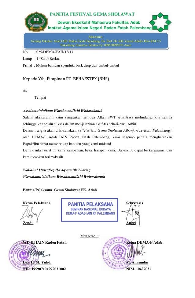 PANITIA FESTIVAL GEMA SHOLAWAT Dewan Eksekutif Mahasiwa Fakultas Adab Institut Agama Islam Negeri Raden Fatah Palembang Se...
