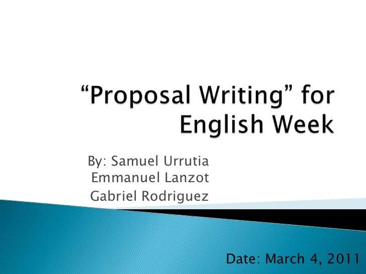 Proposal Writing for English Week