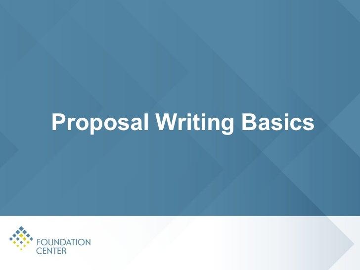 Proposal writing basics