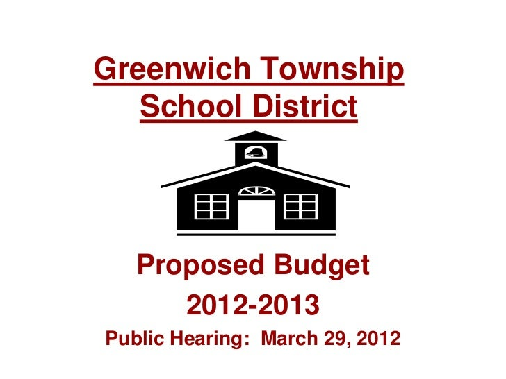 Greenwich Township   School District   Proposed Budget      2012-2013Public Hearing: March 29, 2012