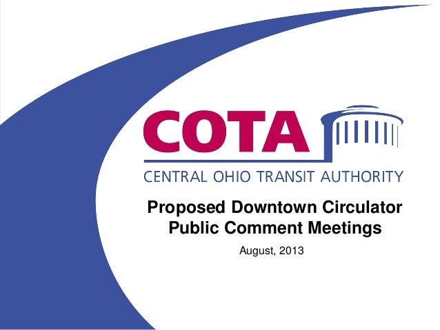 Proposed Circulator Public Comment August 2013