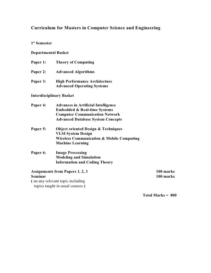 Curriculum for Masters in Computer Science and Engineering   1st Semester  Departmental Basket  Paper 1:       Theory of C...