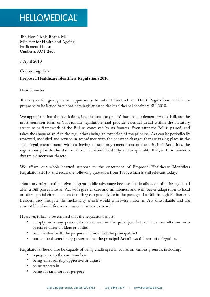 Proposed healthcare identifiers regulations 2010
