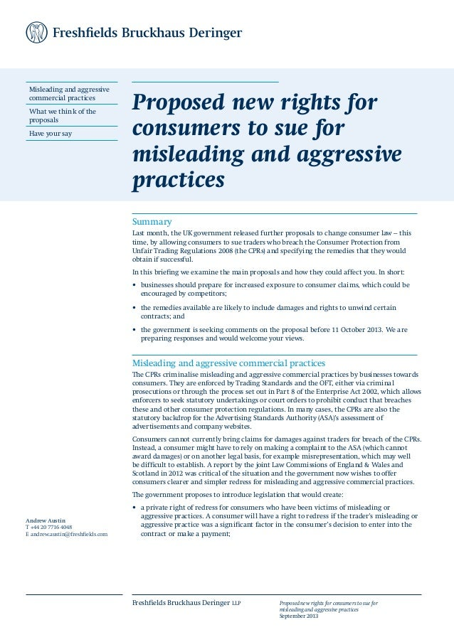 Proposed new rights for consumers to sue for misleading and aggressive practices