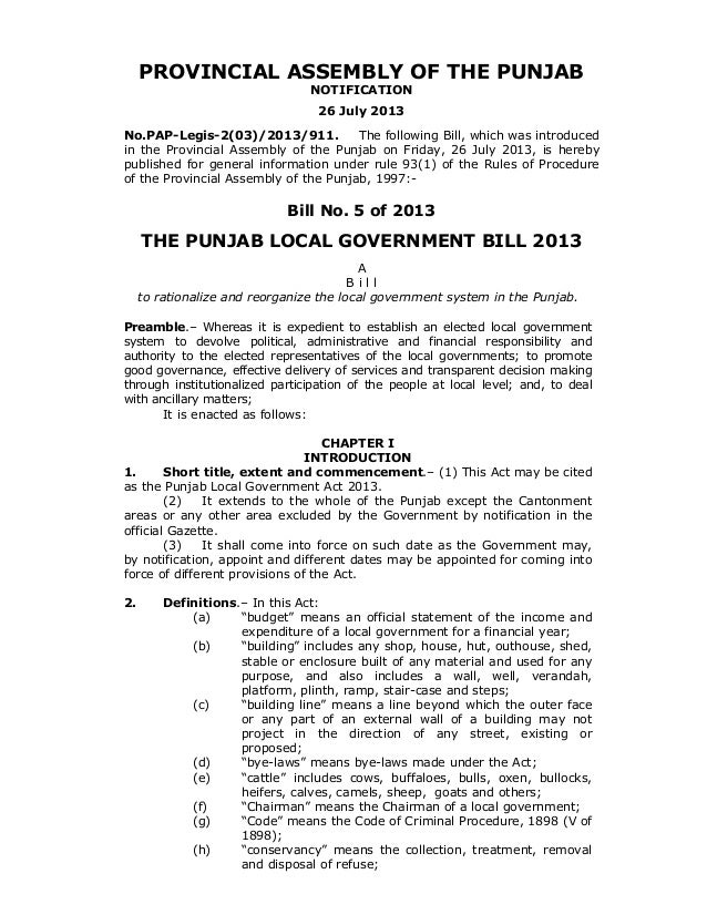 PROVINCIAL ASSEMBLY OF THE PUNJAB NOTIFICATION 26 July 2013 No.PAP-Legis-2(03)/2013/911. The following Bill, which was int...