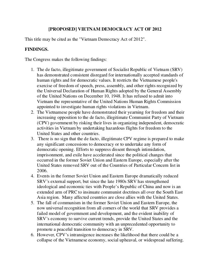 "[PROPOSED] VIETNAM DEMOCRACY ACT OF 2012This title may be cited as the ""Vietnam Democracy Act of 2012"".FINDINGS.The Congre..."