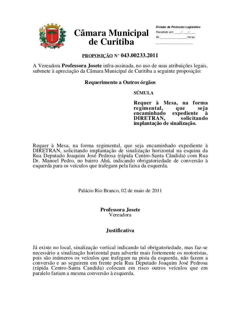 Divisão de Protocolo Legislativo                   Câmara Municipal                      Recebido em: ____/____/____      ...