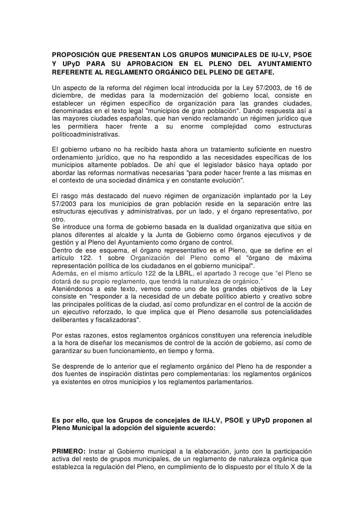 Proposición conjunta sobre el Reglamento del Pleno