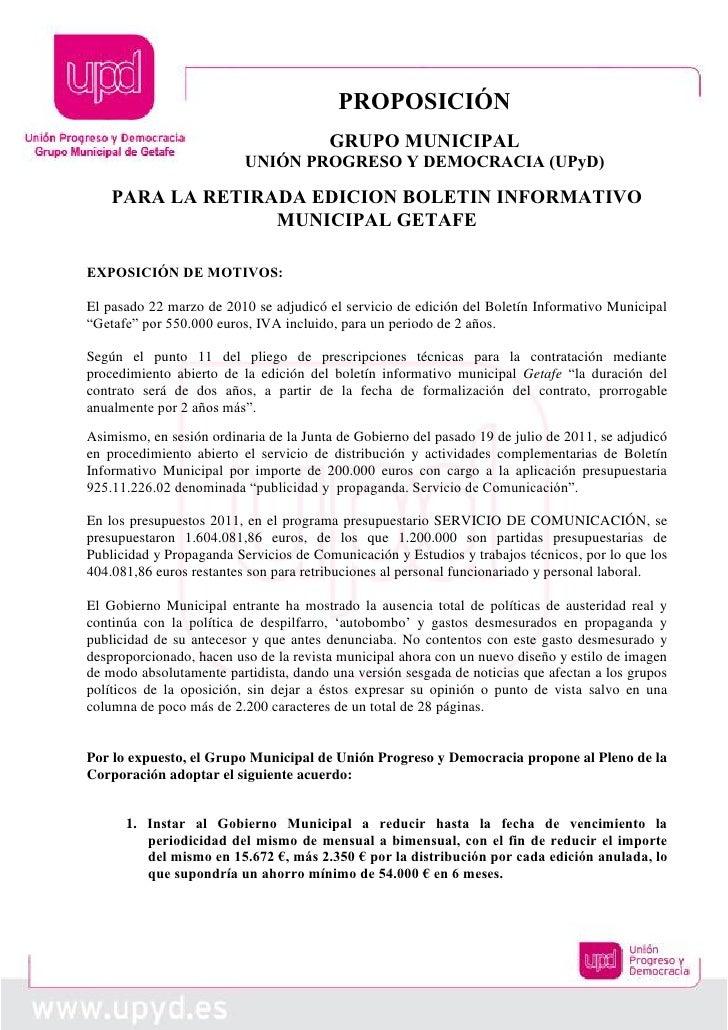 PROPOSICIÓN                                        GRUPO MUNICIPAL                          UNIÓN PROGRESO Y DEMOCRACIA (U...