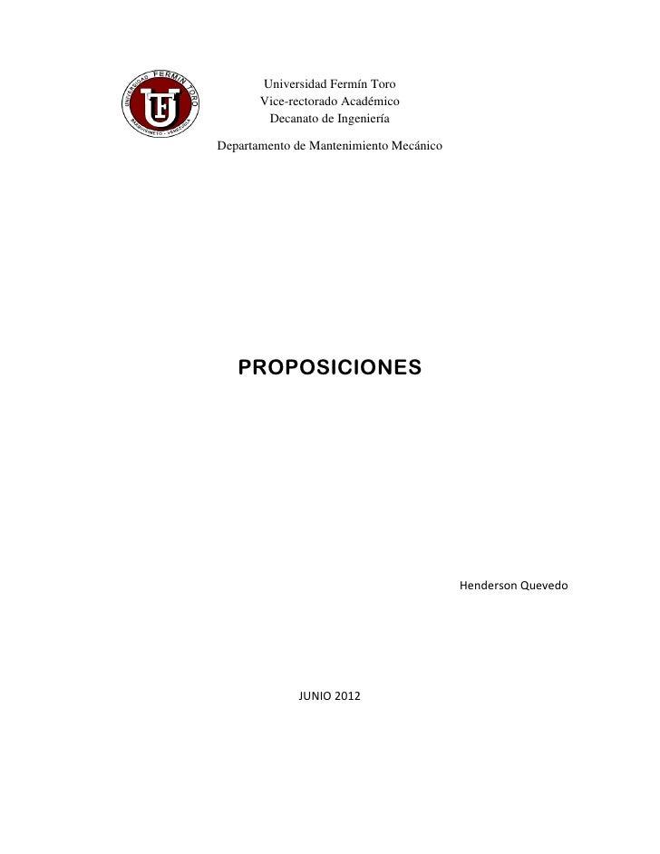 Universidad Fermín Toro       Vice-rectorado Académico        Decanato de IngenieríaDepartamento de Mantenimiento Mecánico...