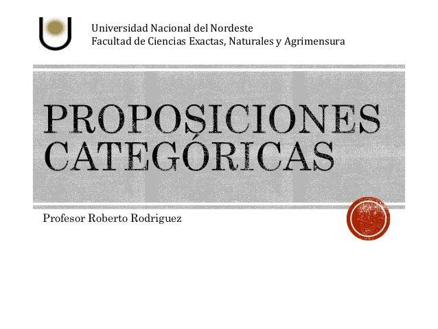 Universidad Nacional del Nordeste  Facultad de Ciencias Exactas, Naturales y Agrimensura  Profesor Roberto Rodriguez