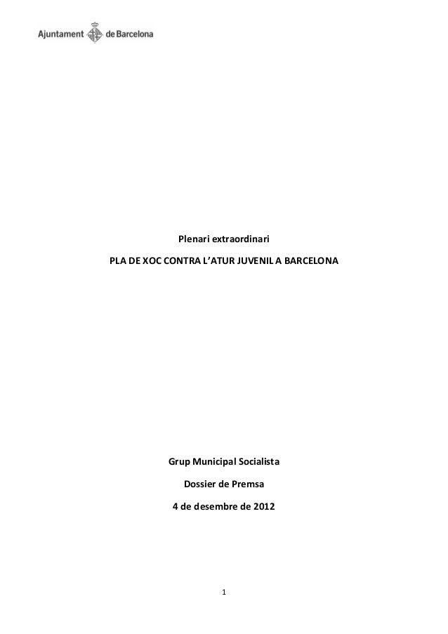 Plenari extraordinariPLA DE XOC CONTRA L'ATUR JUVENIL A BARCELONA           Grup Municipal Socialista              Dossier...
