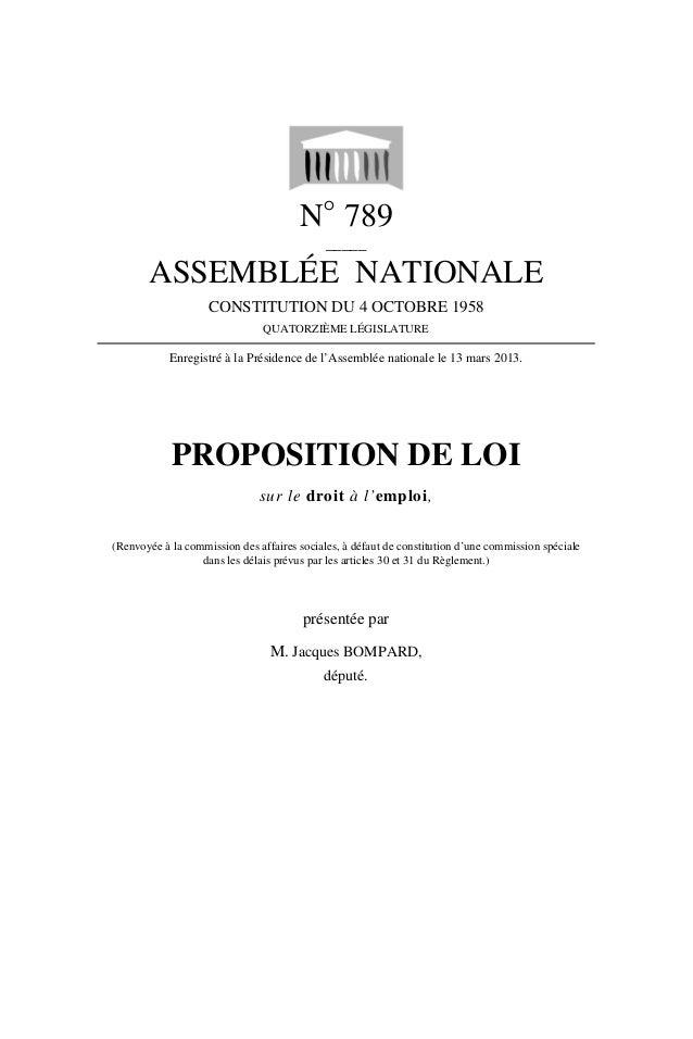 Proposition de loi sur le droit à l'emploi