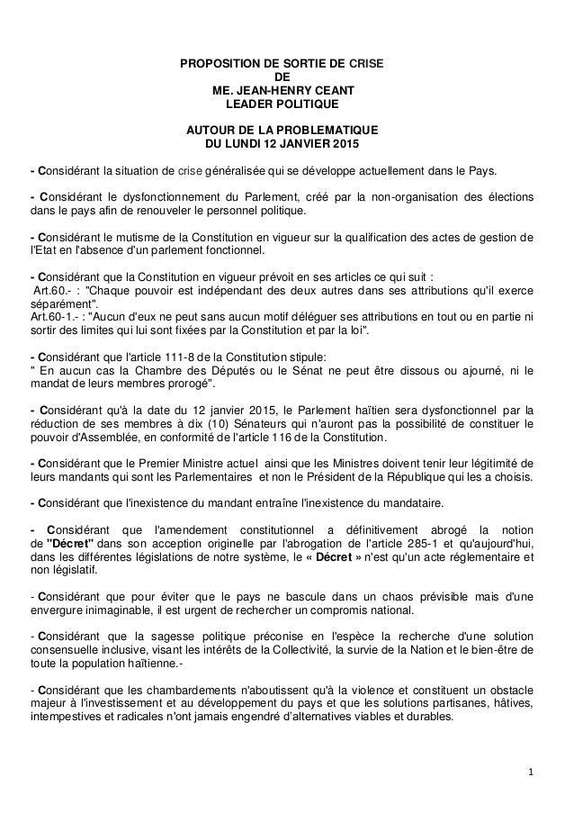 1  PROPOSITION DE SORTIE DE CRISE  DE  ME. JEAN-HENRY CEANT  LEADER POLITIQUE  AUTOUR DE LA PROBLEMATIQUE  DU LUNDI 12 JAN...