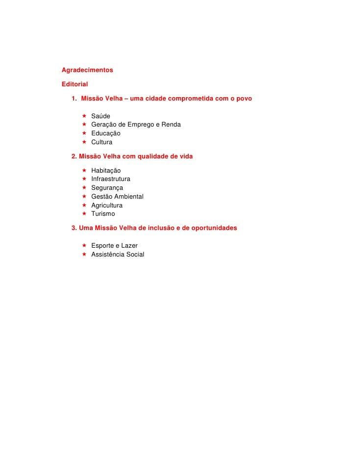 AgradecimentosEditorial   1. Missão Velha – uma cidade comprometida com o povo            Saúde            Geração de Empr...