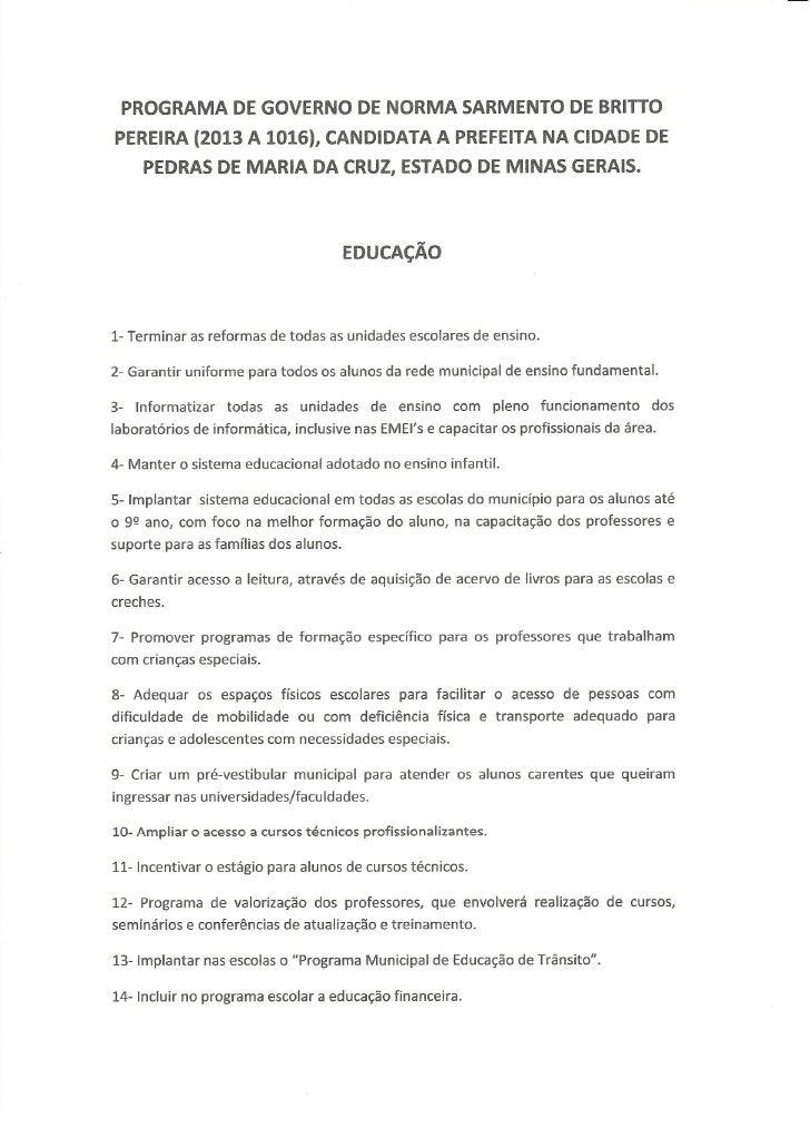 Proposta de governo de Norma Sarmento-22-candidata a prefeita de Pedras de Maria da Cruz