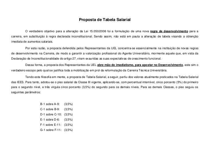Proposta de Tabela Salarial          O verdadeiro objetivo para a alteração da Lei 15.050/2006 foi a formulação de uma nov...