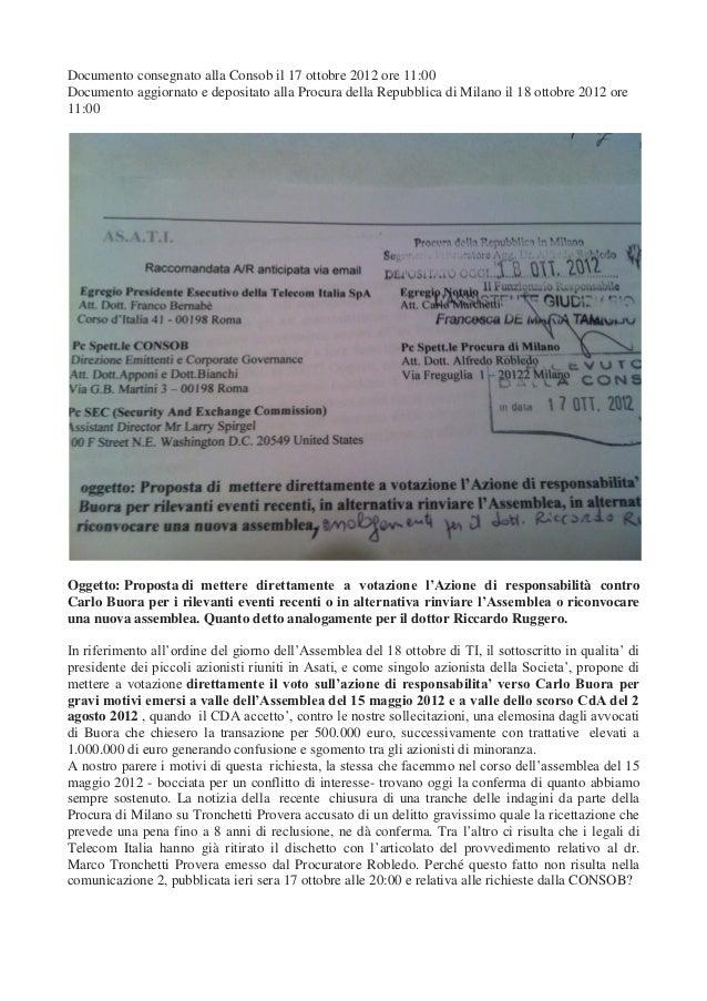 Le motivazioni dei piccoli azionisti Telecom depositate in Procura il 18 ottobre 2012
