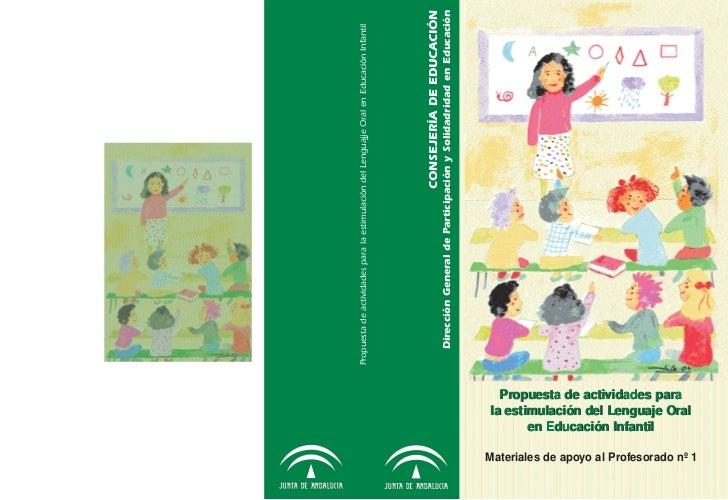 Propuesta de actividades para la estimulación del Lenguajje Oral en Educación Infantil                                    ...