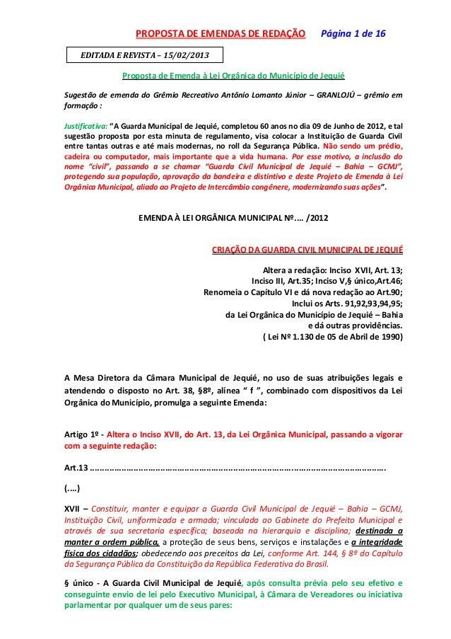 PROPOSTA DE EMENDAS DE REDAÇÃO                                            Página 1 de 16         EDITADA E REVISTA – 15/02...