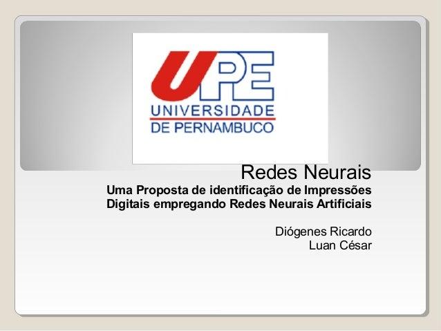 Proposta de identificação de impressões digitais empregando redes neurais artificiais
