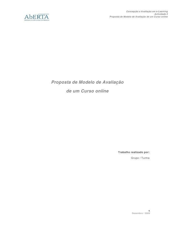 Proposta De Modelo De Avaliacao 2