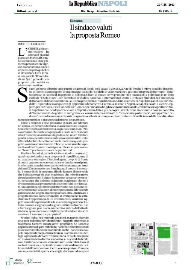 da pag. 1 23-GIU-2013 Diffusione: n.d. Lettori: n.d. Dir. Resp.: Giustino Fabrizio ROMEO 1