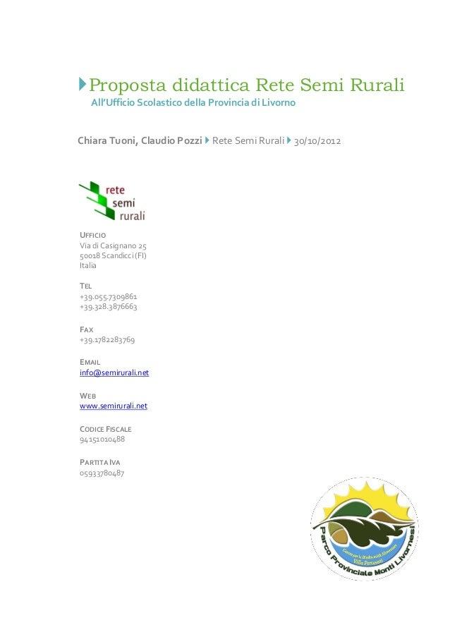 Proposta didattica Rete Semi Rurali 2012-2013