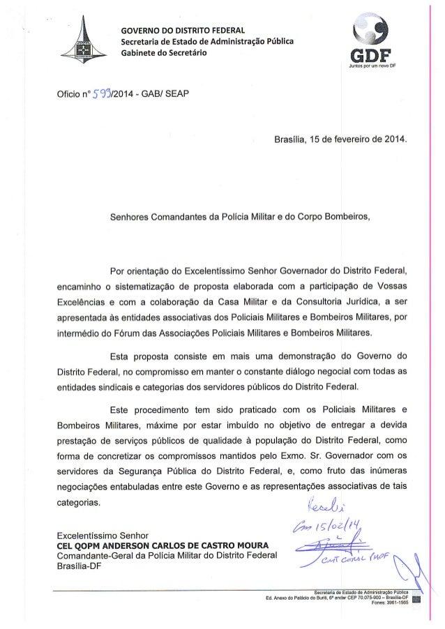 proposta de reajuste apresentada pelo GDF à PMDF.
