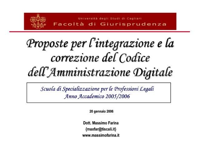 Proposte per l'integrazione e la correzione del Codice dell'Amministrazione Digitale
