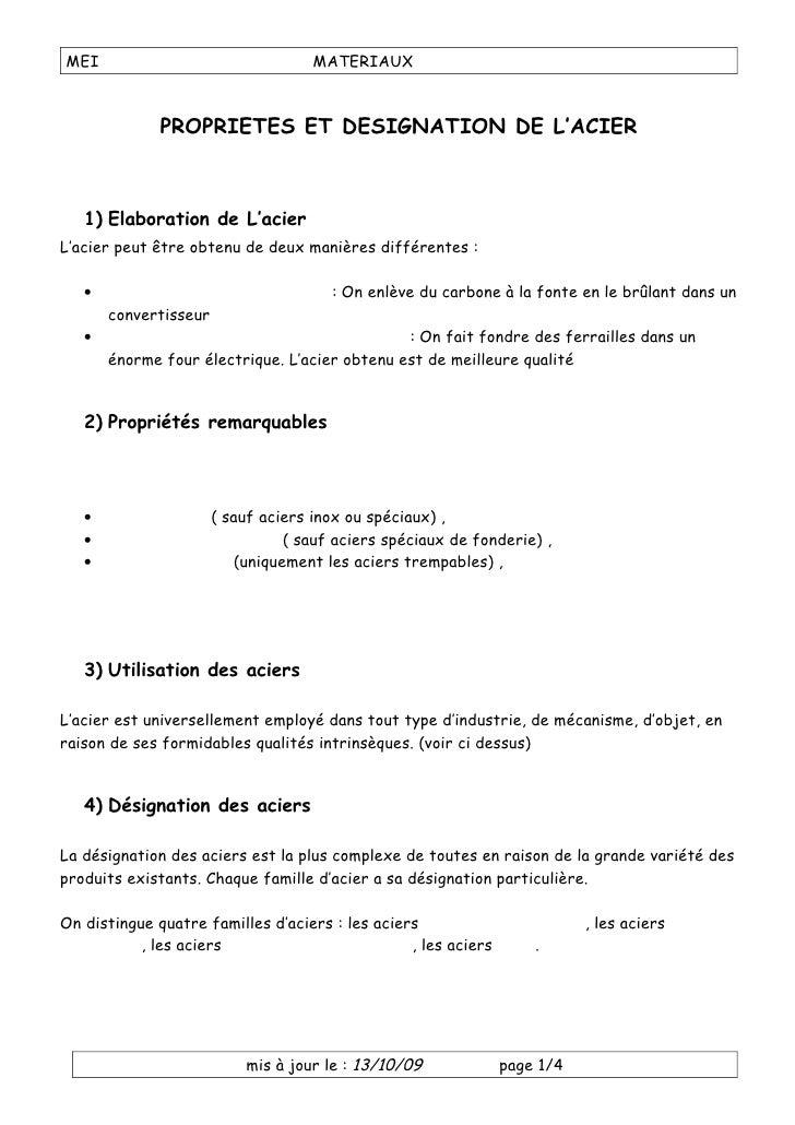 MEI                                 MATERIAUX                  PROPRIETES ET DESIGNATION DE L'ACIER       1) Elaboration d...