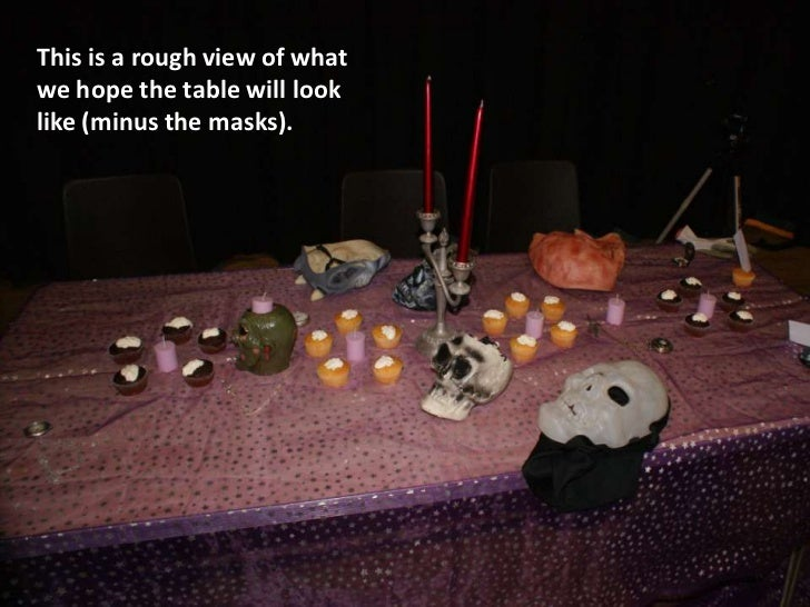 This is a rough view of whatwe hope the table will looklike (minus the masks).