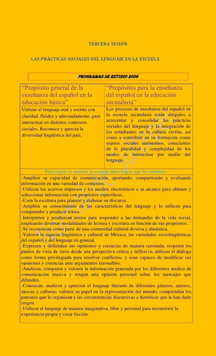 """""""Propósito general de la enseñanza del español en la educación básica"""" y los """"propósitos para la enseñanza del español en la educación secundaria"""""""