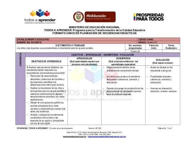 MINISTERIO DE EDUCACIÓN NACIONALTODOS A APRENDER: Programa para la Transformación de la Calidad EducativaFORMATO ÚNICO DE ...