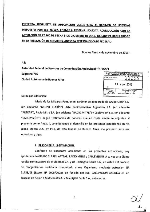 Ley de Medios: Propuesta de adecyacuón del grupo Clarín