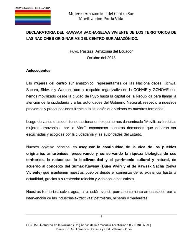 Mujeres  Amazónicas  del  Centro  Sur   Movilización  Por  la  Vida              DECLARATORIA DE...