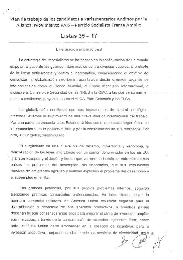 Propuesta al parlamento andino