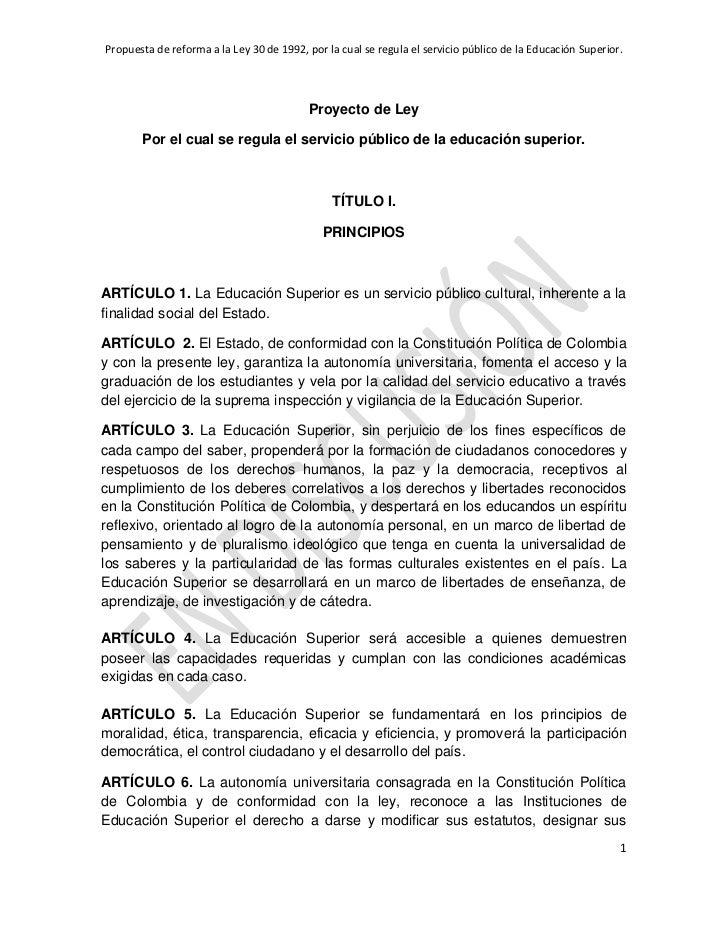 Propuesta articulo ley general de educación
